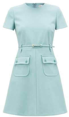 RED Valentino Belted Twill Mini Dress - Womens - Light Blue