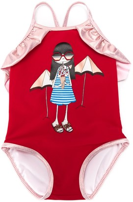The Marc Jacobs Kids Ruffle Trim Swimsuit