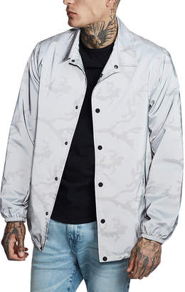 True Religion Men's Non-Denim Casual Jackets REFLECTIVE - Gray Reflective Camo Button-Up Jacket - Men