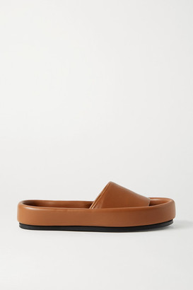 KHAITE Venice Leather Slides - Tan