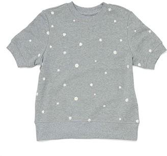 ban.do Daisies Short Sleeve Sweatshirt (Grey) Women's Clothing