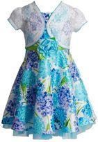 Youngland Toddler Girl Crochet Shrug & Floral Shantung Dress Set