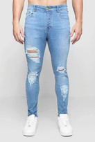 boohoo Mens Grey Skinny Fit Jeans With All Over Rips, Grey