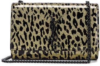Saint Laurent Kate Monogramme Sparkle Bag in Light Gold & Black | FWRD