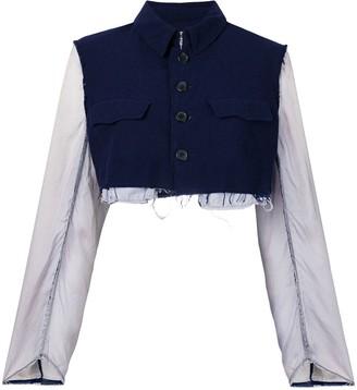 Comme Des Garçons Pre Owned Tonal Cropped Jacket