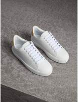Burberry Perforated Check Leather Trainers , Size: 35, White