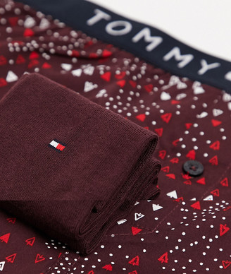 Tommy Hilfiger boxer and socks set in red with logo