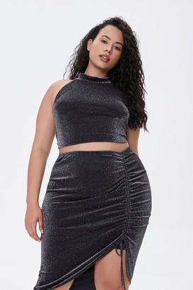 Forever 21 Plus Size Glitter Knit Top Skirt Set