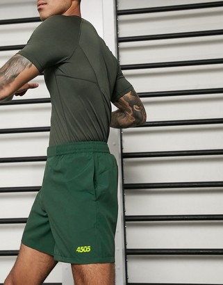 Asos 4505 icon training shorts in mid length in green