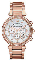 Michael Kors Rose Gold Parker Stainless Steel Crystal Accent Chronograph Watch
