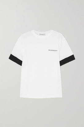 Givenchy Two-tone Poplin-trimmed Printed Cotton-jersey T-shirt - White