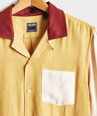 Todd Snyder Colorblock Bowling Shirt in Mustard