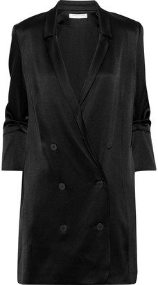 Halston Double-breasted Satin-crepe Mini Tuxedo Dress