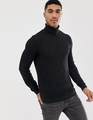 Asos DESIGN muscle fit cable roll neck sweater in charcoal