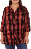 Boutique + + Long Sleeve Button-Front Shirt - Plus