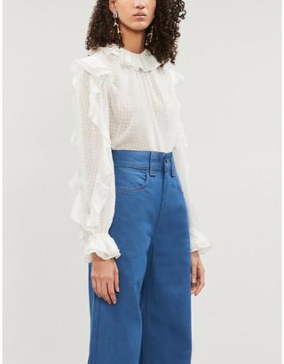 Zimmermann Super Eight frilled-collar silk-blend shirt