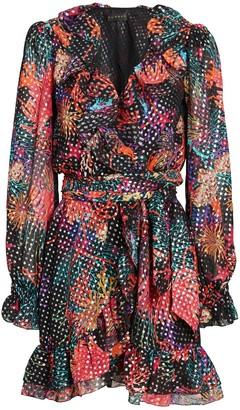 Dundas Ruffled Lurex Floral Wrap Dress