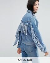 ASOS Tall ASOS TALL Denim Jacket In Midwash Blue With Fringed Back