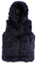 Surell Girls' Hooded Fur Vest - Sizes S-XL