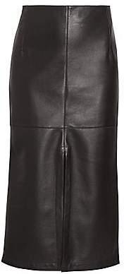 Victoria Beckham Women's Fitted Box Pleat Leather Midi Skirt