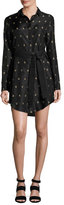 Maiyet Long-Sleeve Printed Silk Shirtdress, Black