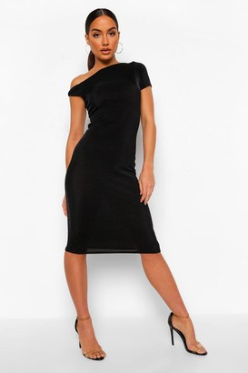 boohoo Off Shoulder Textured Slinky Midi Dress