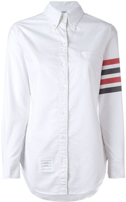 Thom Browne Long Sleeve Button Down With Woven 4-Bar Stripe In University Stripe Oxford