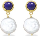 Lapis Vintouch Italy Gold-Plated & Keshi Pearl Earrings