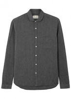 Oliver Spencer Navy Textured Cotton Shirt