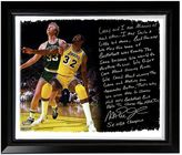 "Steiner Sports Los Angeles Lakers Magic Johnson My Friend Larry Bird Facsimile 22"" x 26"" Framed Stretched Story Canvas"