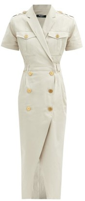 Balmain Double-breasted Cotton-blend Dress - Beige