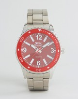 Slazenger Silver Watch With Red Dial