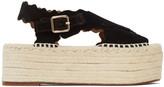 Chloé Black Suede Lauren Espadrilles Flat Sandals