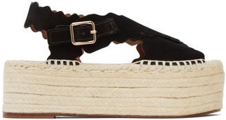 Chloé Black Suede Lauren Espadrilles Platform Sandals