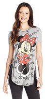 Disney Juniors Minnie All Over Printed High Low Spongy Side Slit Tunic Tee