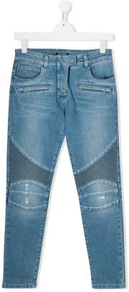 Balmain Kids biker skinny jeans