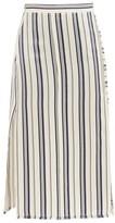 Altuzarra Scrimshaw Striped Side-slit Satin Midi Skirt - Womens - White Stripe