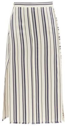 Altuzarra Scrimshaw Striped Side-slit Satin Midi Skirt - White Stripe
