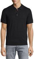 Neiman Marcus Short-Sleeve Cashmere-Silk Polo Shirt, Black
