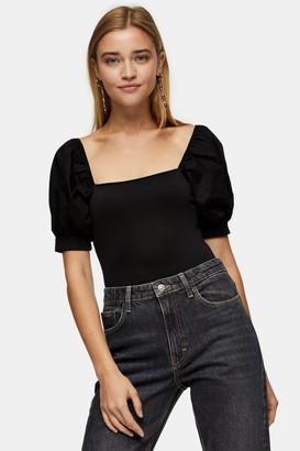 Topshop Black Poplin Sleeve Bodysuit