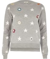 River Island Womens Grey embellished star knit sweater