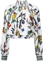 Tibi floral print gathered blouse - women - Silk - 6