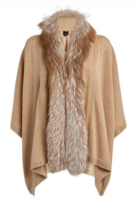 William Sharp Fox Fur Trim Cashmere Cape