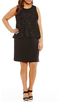 Jessica Howard Plus Sequined Lace Popover Dress
