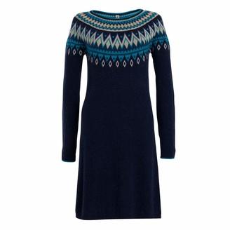 Weird Fish Sebah Fair Isle Knitted Dress Navy Size 16