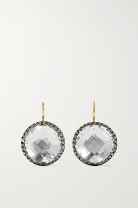 Larkspur & Hawk Olivia Button Rhodium-dipped Quartz Earrings - Gunmetal