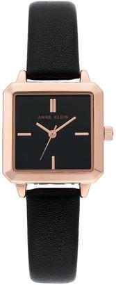 Anne Klein Women's Black Square Leather Watch