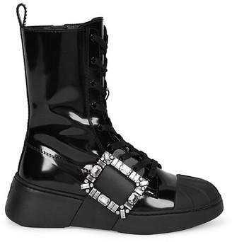 Roger Vivier Viv Skate Strass Patent Leather Combat Boots