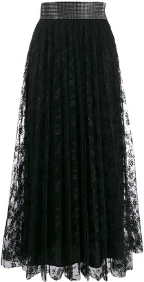 Christopher Kane Crystal Lace Pleated Skirt