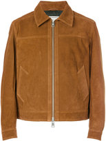 Ami Alexandre Mattiussi classic collar leather jacket - men - Cotton/Calf Leather/Acetate - L